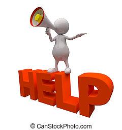 3, emberek, noha, segítség, szó