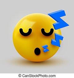 3, emoticon., message., gul, sova, söt, eller, face., illustration, pratstund, emoji