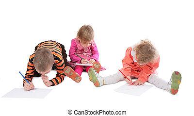3 enfants, dessin, trois