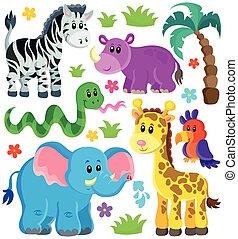 3, ensemble, animaux, africaine