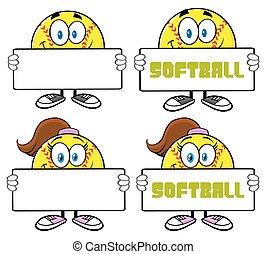 3, ensemble, caractère, collection, softball