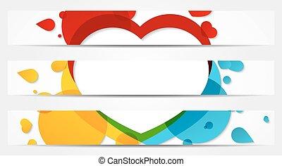 3, ensemble, entiers, bannières, coloré
