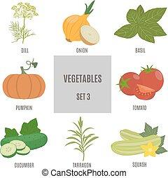 3, ensemble, vegetables.