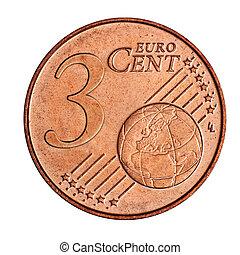3, euro, cent, monnaie