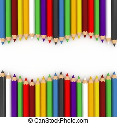 3, färgglatt, blyertspenna, våg