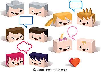 3, familj, avatars, vektor