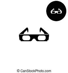 3, fehér, ikon, -, szemüveg, vektor