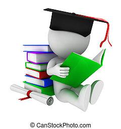 3, fehér, könyv, felolvasás, emberek