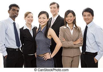 3, feliz, equipe negócio