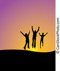 3, feliz, pessoas