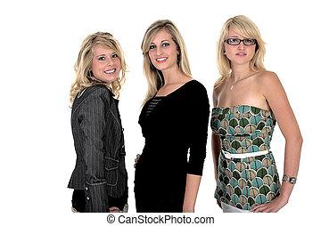 3, femme, trois, business