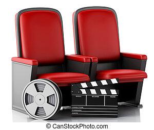 3, filma rullen, och, bio, clapperen stiger ombord, på, teater, seat.