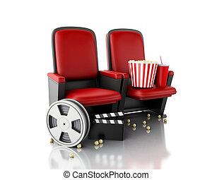 3, filma rullen, popcorn, och, bio, clapperen stiger ombord, på, teater, seat.