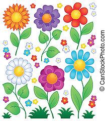 3, fiori, cartone animato, collezione