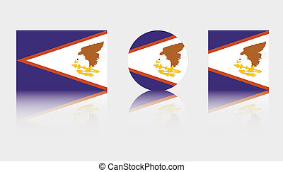 3 Flag Illustrations of the country of American Samoa