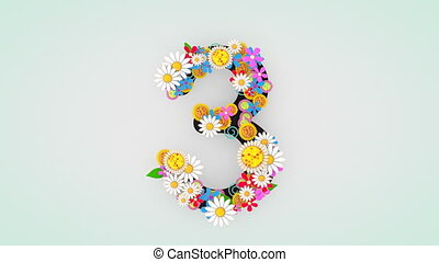 """3."""", floral, animation, """"numerical, chiffre"""