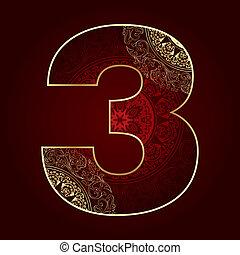 3, floral, nombre, tourbillons, vendange