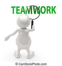 3, folk, hos, forstørrelses glas, og, glose, teamwork