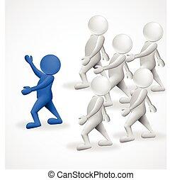 3, folk, ledare, affär, logo