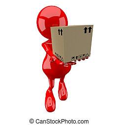 3, folk, leverera, liten, kartong kasse