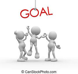 """3, folk, -, män, person, med, röd, ord, """"goal"""", ."""