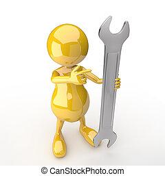 3, folk, med, skiftnyckel