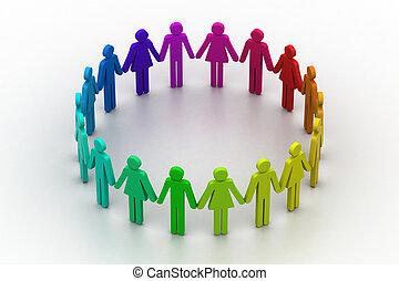 3, folk, oprett, en, circle., hold arbejd, begreb