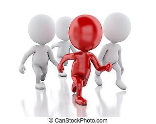 3, folk, spring, med, a, röd, leader., ledare, begrepp