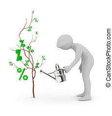 3, folk, -, vand, en, træ, i, cents per