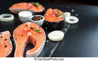 3, fond, bifteck, concept, cru, pierre, graisses, sombre, oméga, saumon, romarin, régime, insaturé, épices, oignons