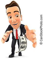 3, forretningsmand, bøj bøj, til pick, oppe, dollar