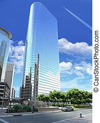 3, framförande, av, a, generisk, nymodig, skyskrapa,...