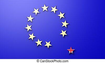3, framförande, av, abstrakt, europeisk sammanslagning flagga, och, stjärnor, med, uk, ute