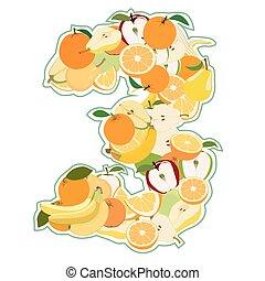 3, fruit, sappig, vorm, getal