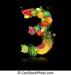 3, frutta, succoso, forma, numero