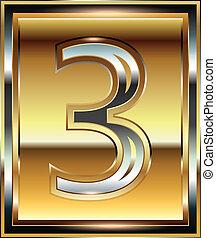 3, fuente, lingote, número, ilustración