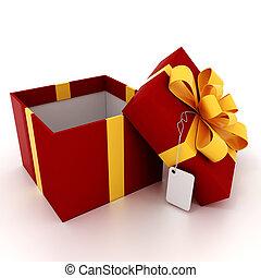 3, gåva, boxas, vita, bakgrund
