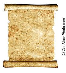 3, gammal, pergament, rulla