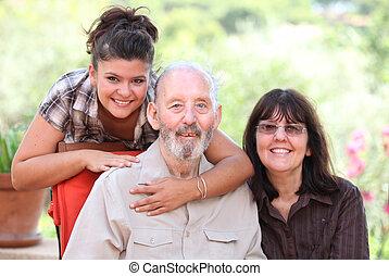 3 generationer, familj