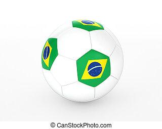 3, gengivelse, i, en, soccer bold, hos, flag brasilien