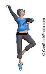 3, gengivelse, senior kvinde, exercising, på hvide