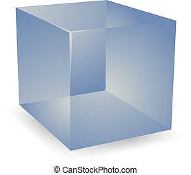 3, genomlysande, kuben