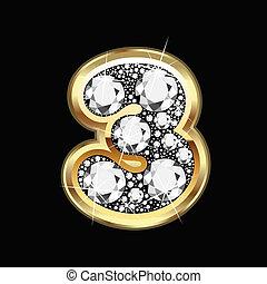 3, getal, goud, en, diamant, bling