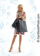 #3, girl, achats, flocons neige