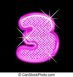 3, girly, número, bling, rosa