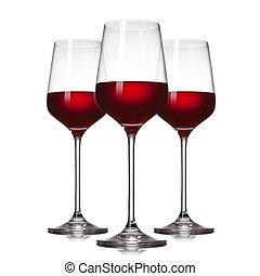 3, gläser roten weines, freigestellt, weiß