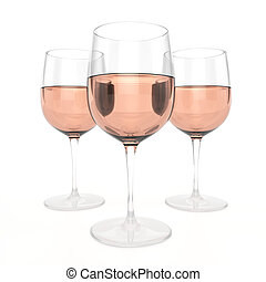 3 Glasses Of Rose Wine
