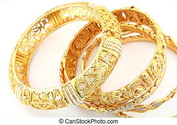 3, gold, armbänder