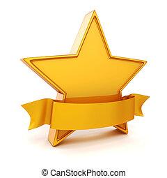 3, gold csillag, white, háttér
