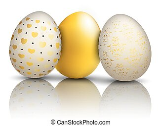 3 Golden Easter Eggs Ornaments Mirror
